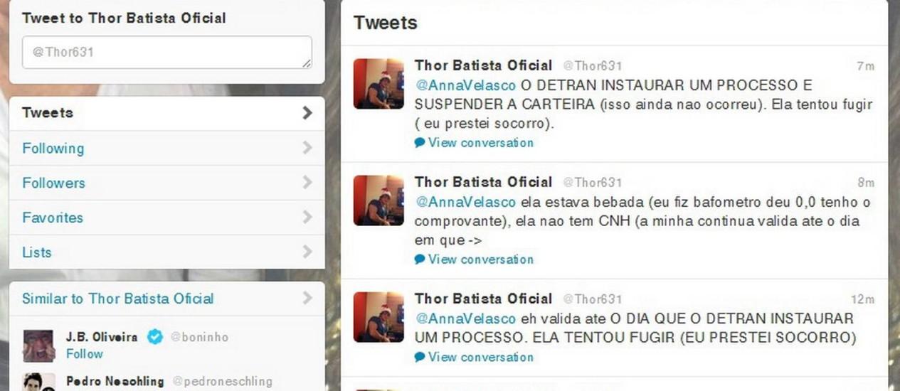 Imagem do twitter de Thor Batista: ele voltou a falar de acidente em que atropelou e matou um ciclista na BR-040 Foto: Reprodução