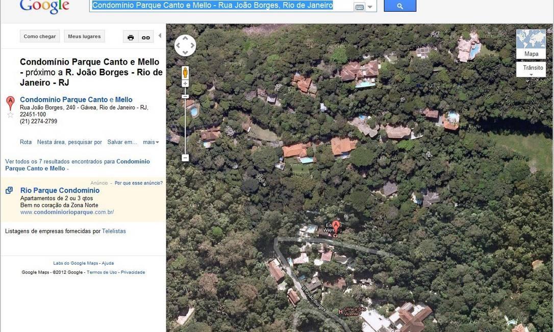 Vista aérea do Condomínio Parque Canto e Mello, na Gávea, localizado em área de reserva florestal Foto: Reprodução do Google