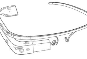 Desenho da Google mostra projeto de óculo inteligente, sem lentes tradicionais Foto: Reprodução