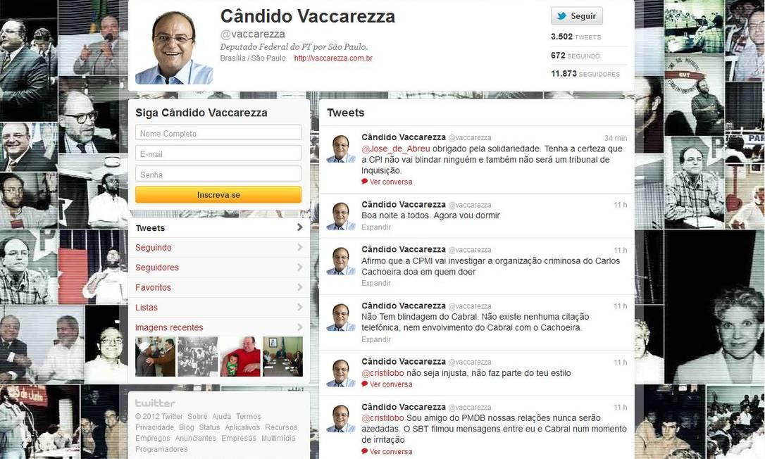 Vaccarezza se defende pelo Twitter Foto: Reprodução