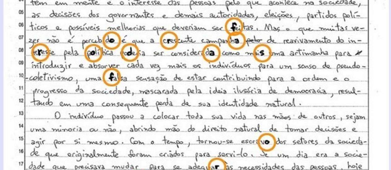 Redação considerada ótima pela Fuvest que continha crítica subliminar ao reitor João Grandino Rodas Foto: Reprodução