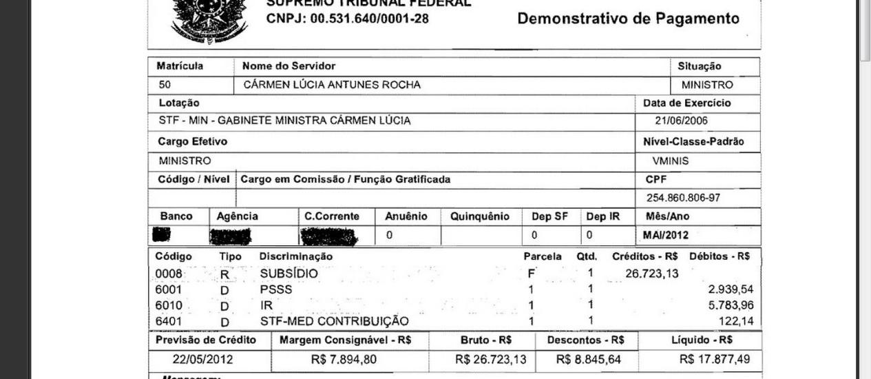 Contracheque da presidente do Tribunal Superior Eleitoral (TSE), ministra Cármen Lúcia Foto: Reprodução site STF