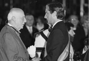 Collor e Ulysses Guimarães durante a posse do ex-presidente Foto: Arquivo O Globo