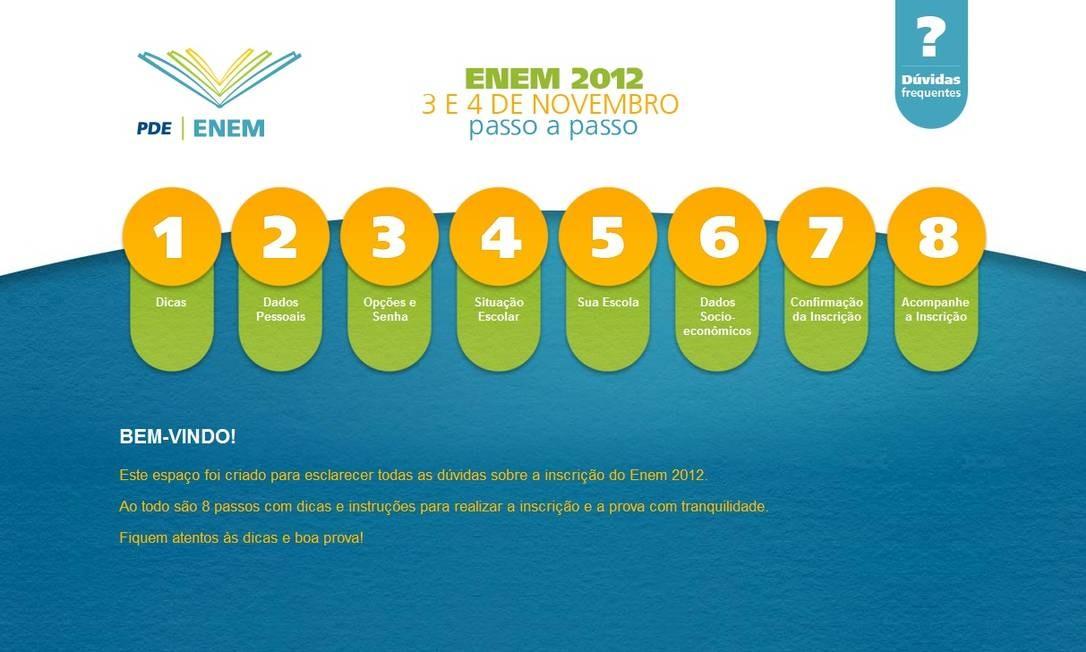 Página de inscrição no Enem oferece passo a passo para estudantes Foto: Reprodução