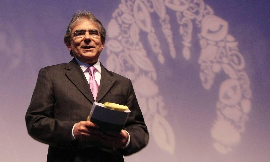 O presidente do STF, ministro Ayres Brito, participou de um congresso de comunicação nesta segunda-feira em Brasília Foto: O Globo / Marcos Alves
