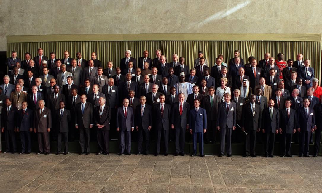 Foto oficial dos chefes de Estado presentes na Rio 92 Foto: Cezar Loureiro / 14.06.1992