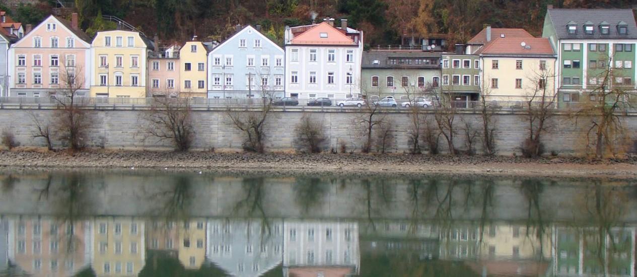 Em Passau, na Alemanha, o Danúbio sen encontra com os rios Inn e Ilz: última parada do cruzeiro Foto: Eduardo Auler / Agência O Globo