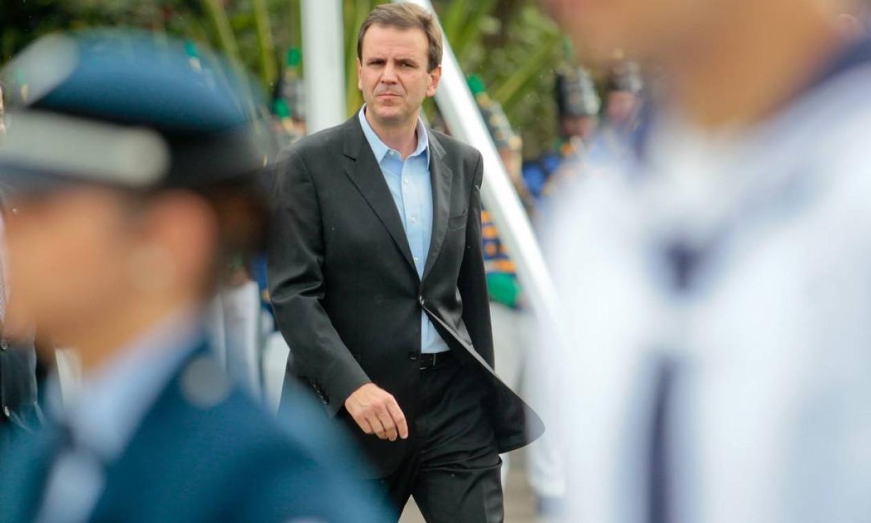 O prefeito Eduardo Paes fez a entrega do Riocentro à ONU na manhã desta terça-feira Foto: Pedro Kirilos / O Globo