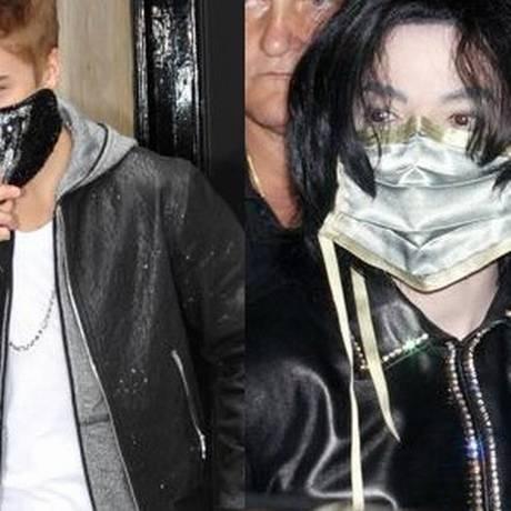 Justin Bieber e Michael Jackson: máscara para cobrir rosto Foto: Fotomontagem