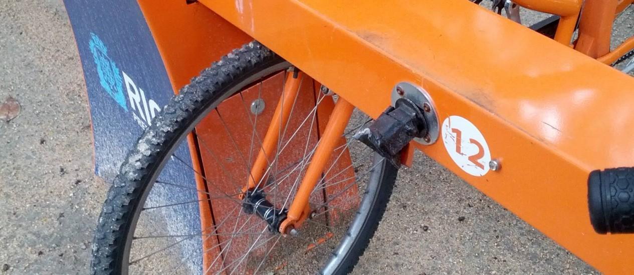 Bicicletas e estações do Bike Rio começam a apresentar problemas Foto: Foto do leitor Raul Mascarenhas Melhado / Eu-Repórter