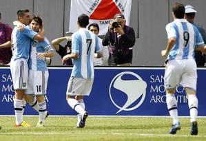 Lionel Messi marcou três gols na vitória da Argentina sobre o Brasil por 4 a 3 Foto: Gary Hershorn / Reuters