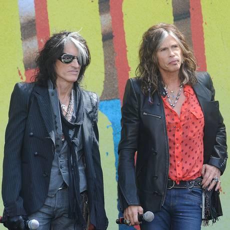 Joe Perry e Steven Tyler, os líderes do Aerosmith Foto: Katy Winn / AP Photo