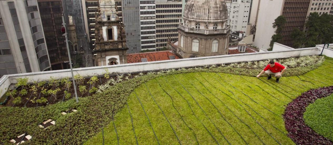 Telhado verde do Edifício Marques dos Reis, no Centro do Rio Foto: Márcia Foletto / O Globo