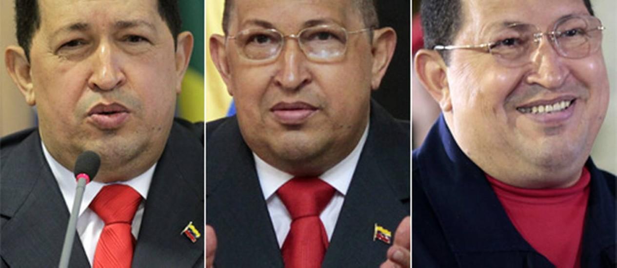 O presidente Chávez em três momentos: em 26 de junho de 2011, pouco após anunciar seu problema de saúde; em 1º de agosto do ano passado, já careca por causa da quimioterapia; e no último 4 de junho, com o cabelo recuperado, mas apresentando inchaço por causa do tratamento Foto: Reuters