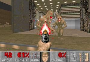 O jogo de tiro em primeira pessoa 'Doom' é um dos clássicos oferecidos no site Foto: Reprodução