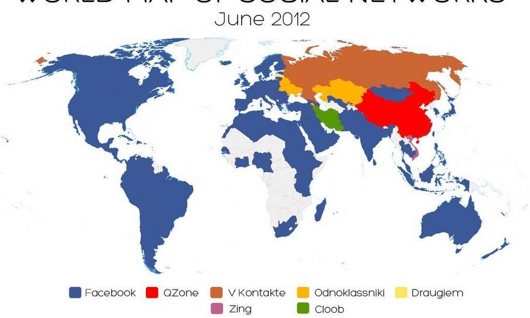 Mapa criado pelo pesquisador italiano Vincenzo Cosenza mostra onde Facebook lidera Foto: Reprodução