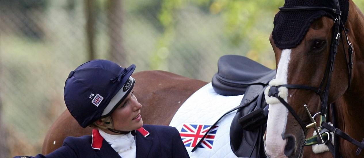 Zara Phillips com sua montaria Toytown durante o Campeonato Equestre Europeu, na Itália, em 2007. Princesa inglesa se prepara para os Jogos de Londres-2012 Foto: Tiziana Fabi / AFP