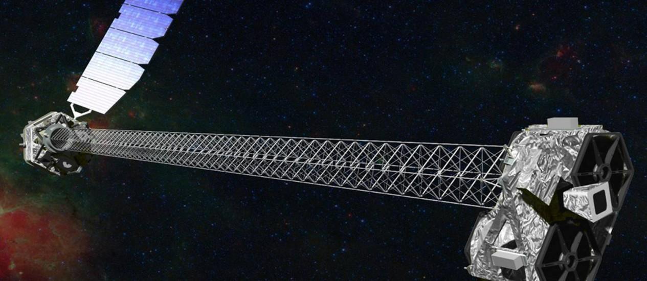 Concepção artística do NuSTAR em órbita: o telescópio tem dois módulos ópticos idênticos para aumentar a sensibilidade Foto: NASA/JPL-Caltech
