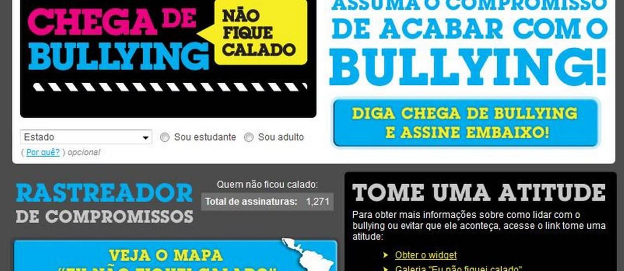 """Imagem da página da campanha """"Não fique calado"""" Foto: Reprodução"""