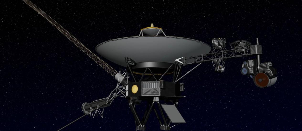 Ilustração da Nasa mostra a sonda Voyager 1: novos dados indicam que a sonda está chegando na fronteira do Sistema Solar Foto: Nasa