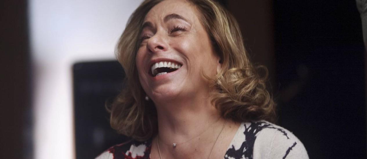 Antes de gravar, a atriz e apresentadora em momento descontraído Foto: Rafael Andrade