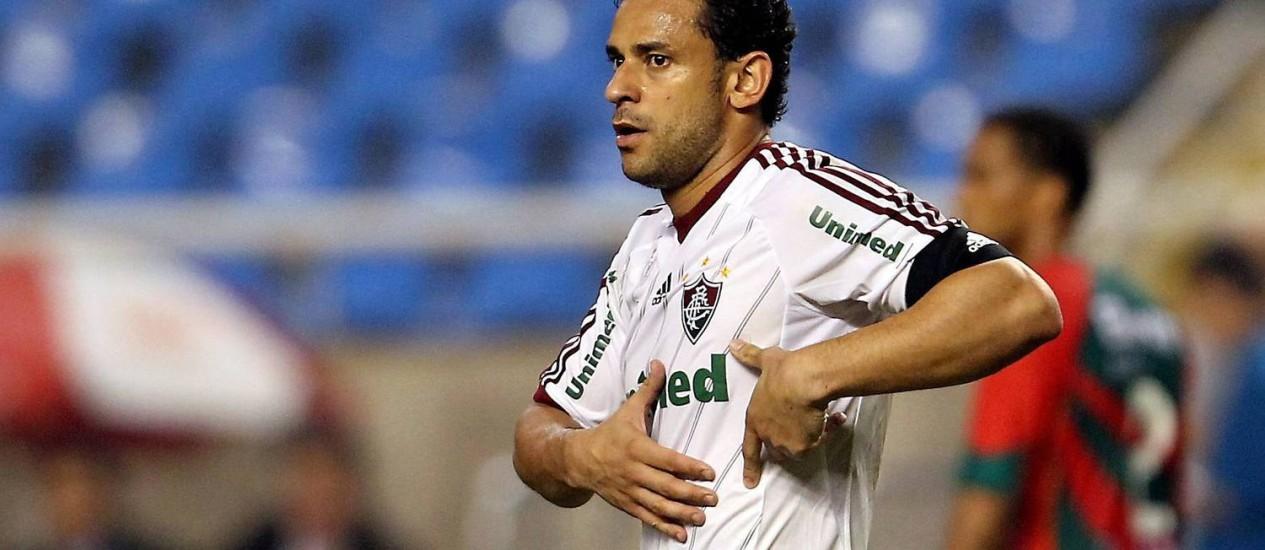 Fred completou 127 jogos pelo Fluminense, marcando o terceiro gol na vitória de 4 a 1 no Engenhão Foto: Cezar Loureiro