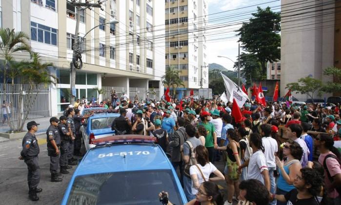 Polícia acompanhou a manifestação; não houve registro de tumultos Agência O Globo / André Teixeira