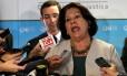 Ministra Eliana Calmon durante entrevista sobre o juiz Paulo Augusto Moreira Lima