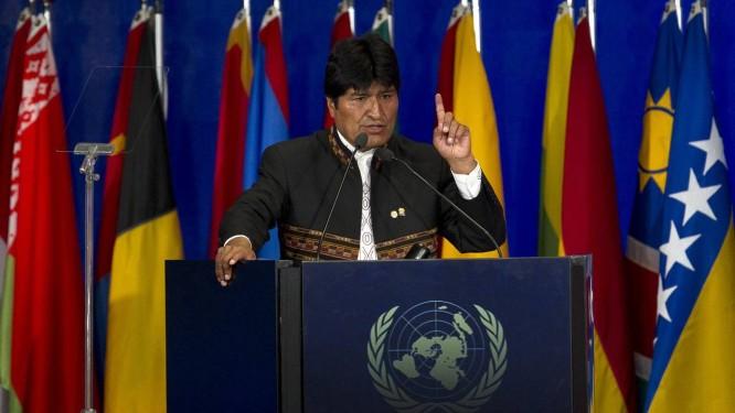 O presidente Evo Morales em discurso na Rio+20: crítica ao conceito de economia verde Foto: AP / Vitor R. Caivano