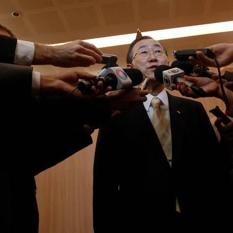 Ban Ki-moon, o secretário-geral da ONU, elogia o documento final da conferência Foto: Gabriel de Paiva