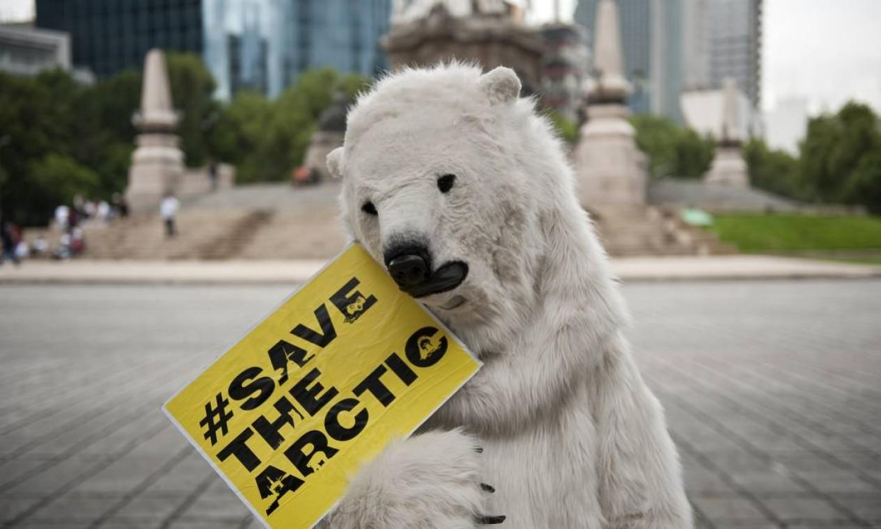 Ativista vestido de urso polar na Cidade do México Foto: AFP / Ronaldo Schemidt