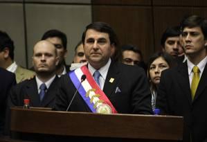 O novo presidente Federico Franco, durante o discurso de posse no Senado Foto: Jorge Adorno/Reuters