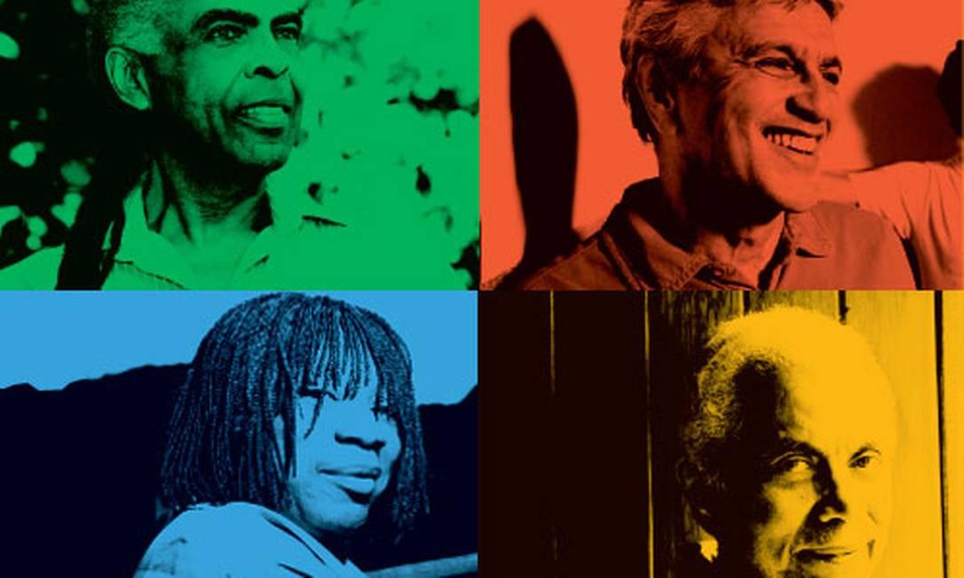 Os setentões Gilberto Gil, Caetano Veloso, Milton Nascimento e Paulinho da Viola Foto: O Globo / Arte: Luciana Nunes