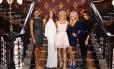 Melanie Brown, Melanie Chisholm, Geri Halliwell, Emma Bunton e Victoria Beckham no encontro