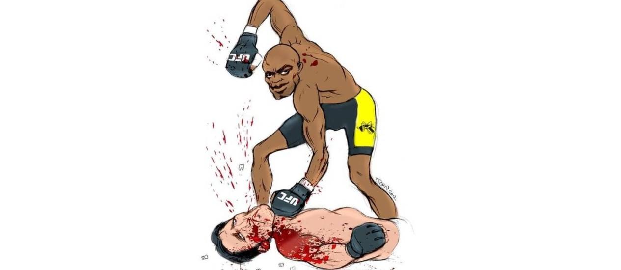 As declarações de Anderson Silva inspiraram o cartunista americano Torbin Dorn. No desenho, o brasileiro massacra Chael Sonnen Foto: Reprodução do Twitter