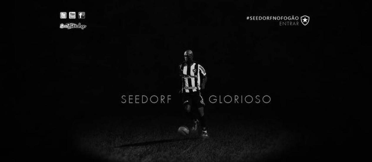 Site do Botafogo dá as boas vindas ao holandês Seedorf Foto: Reprodução da internet
