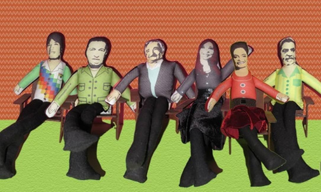 Evo Morales, Hugo Chávez, José Mujica, Cristina Kirchner, Dilma Rousseff e Lula em bonecos Divulgação internet / Mercado Livre