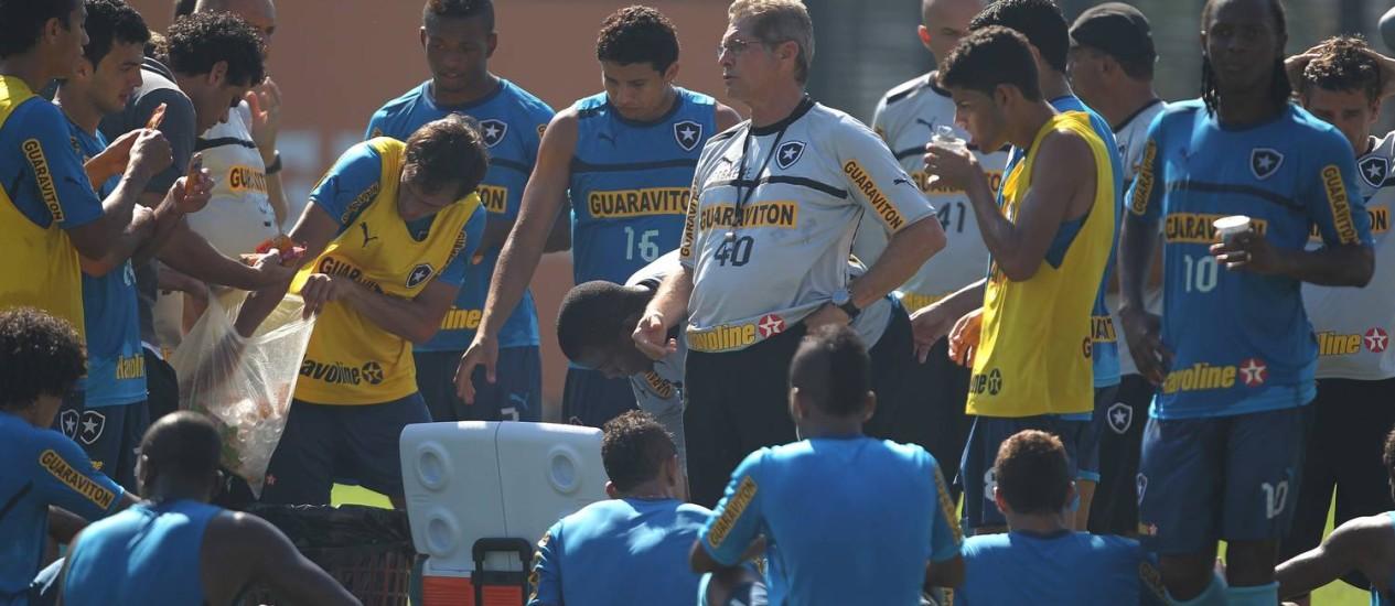 O técnico Oswaldo de Oliveira orienta os jogadores durante o treino em General Severiano Foto: Jorge William / O Globo