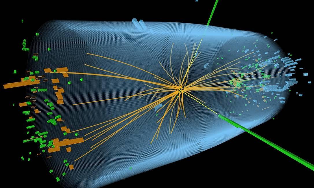 Imagem divulgada pela CERN mostra uma representação da colisão de prótons na experiência pela busca do bóson de Higgs Foto: AFP