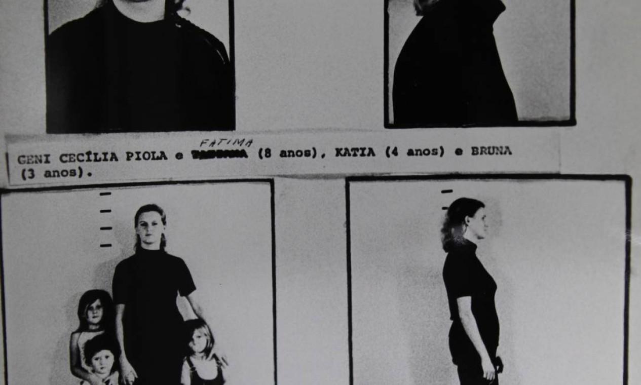 Geni Cecilia Piola foi retratada pelo regime militar com as filhas Fátima, Kátia e Bruna Foto: Reprodução / Arquivo Nacional