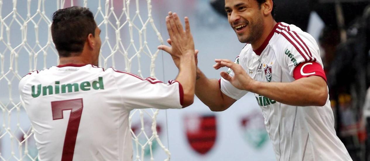 Fred comemora o gol da vitória do Fluminense no clássico Foto: Cezar Loureiro
