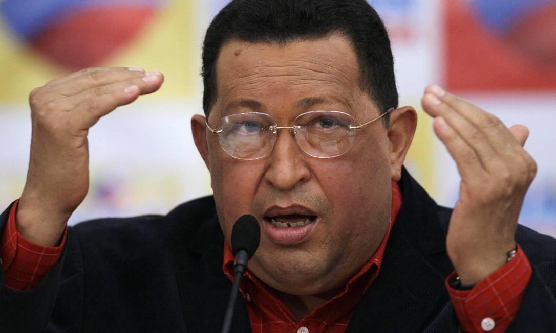 O presidente da Venezuela, Hugo Chávez, durante conferência em Caracas Foto: Ariana Cubillos/AP