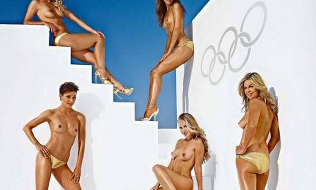 As cinco atletas alemãs que posaram para a edição de agosto da versão alemã da revista Playboy Divulgação / Playboy