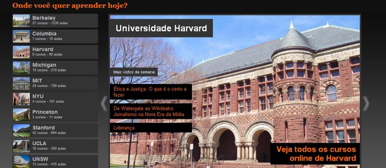 Página do portal Veduca, que oferece aulas legendadas de diversas universidades Foto: Reprodução