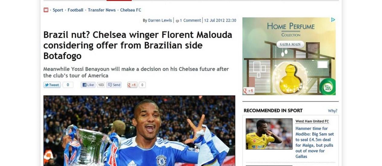 Site de tabloide britânico diz que Botafogo pode ser destino de Malouda Foto: Reprodução