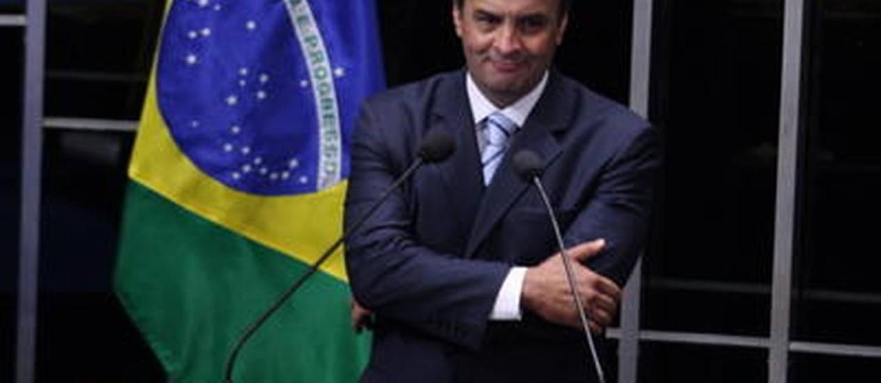 Estratégia do partido é tornar Aécio Neves mais conhecido em outras regiões do país Foto: Aílton de Freitas / O Globo
