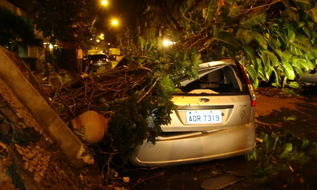 Árvore esmaga veículo na Rua Souza Lima, em Copacabana Foto do leitor Fernando Relvas / Eu-Repórter