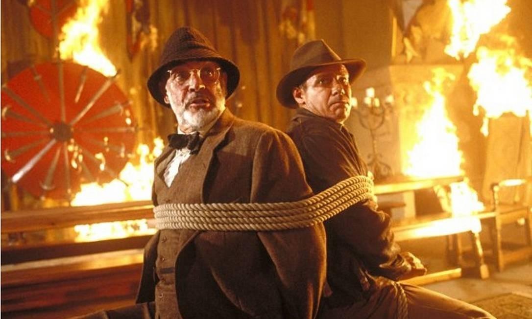 Ao lado de Sean Conery, em 1989, Ford fez sucesso com 'Indiana Jones e a Grande Cruzada' Foto: Divulgação/IMDB