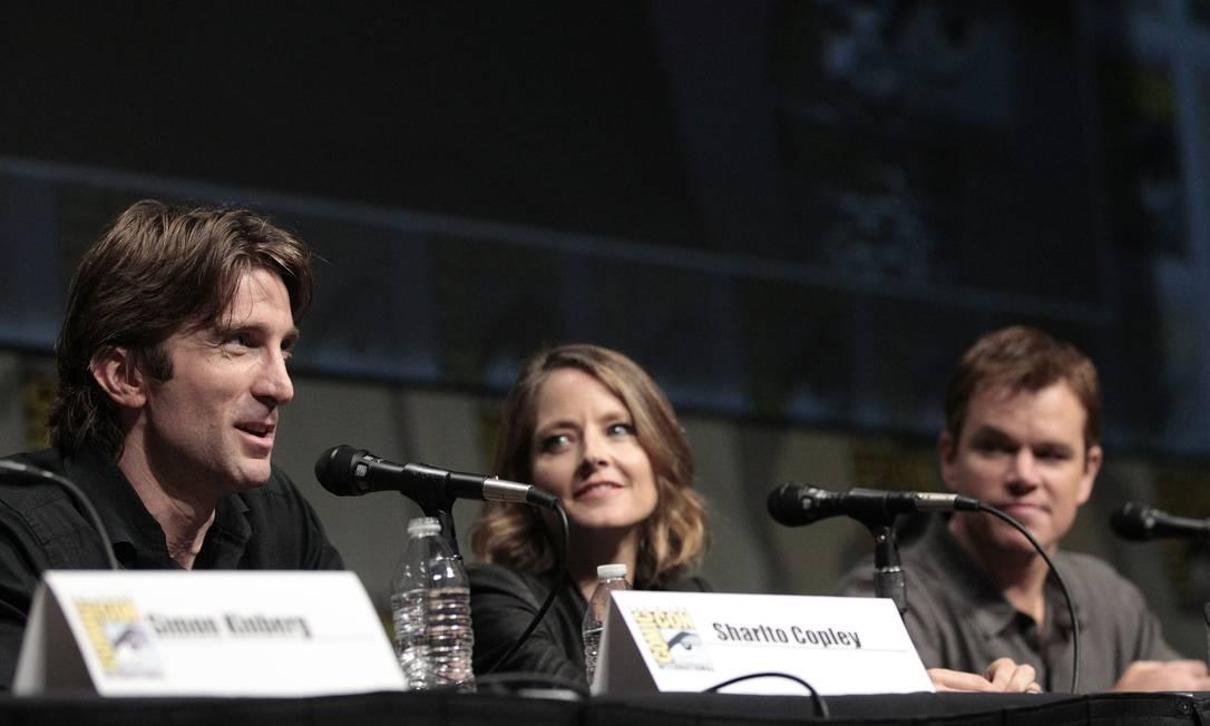 Os atores Sharlto Copley, Jodie Foster e Matt Damon divulgaram o filme 'Elisyum', que terá o brasileiro Wagner Moura no elenco Reuters
