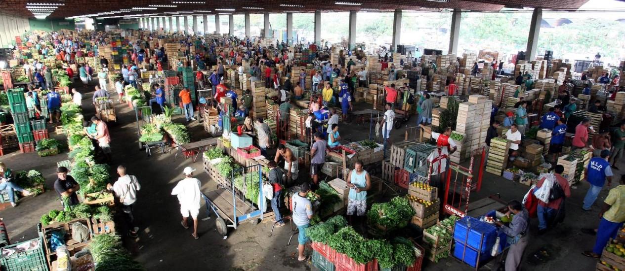 O movimento na Ceasa de Irajá: 1,8 milhão de toneladas de alimentos comercializadas no ano passado Foto: Felipe Hanower / Agência O Globo